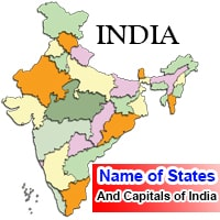 Name of States and Capitals of India in English
