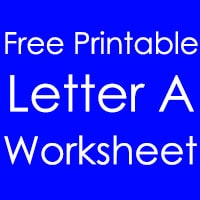Printable Letter A Worksheet in English