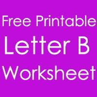 Printable Letter B Worksheet in English