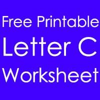 Printable Letter C Worksheet in English