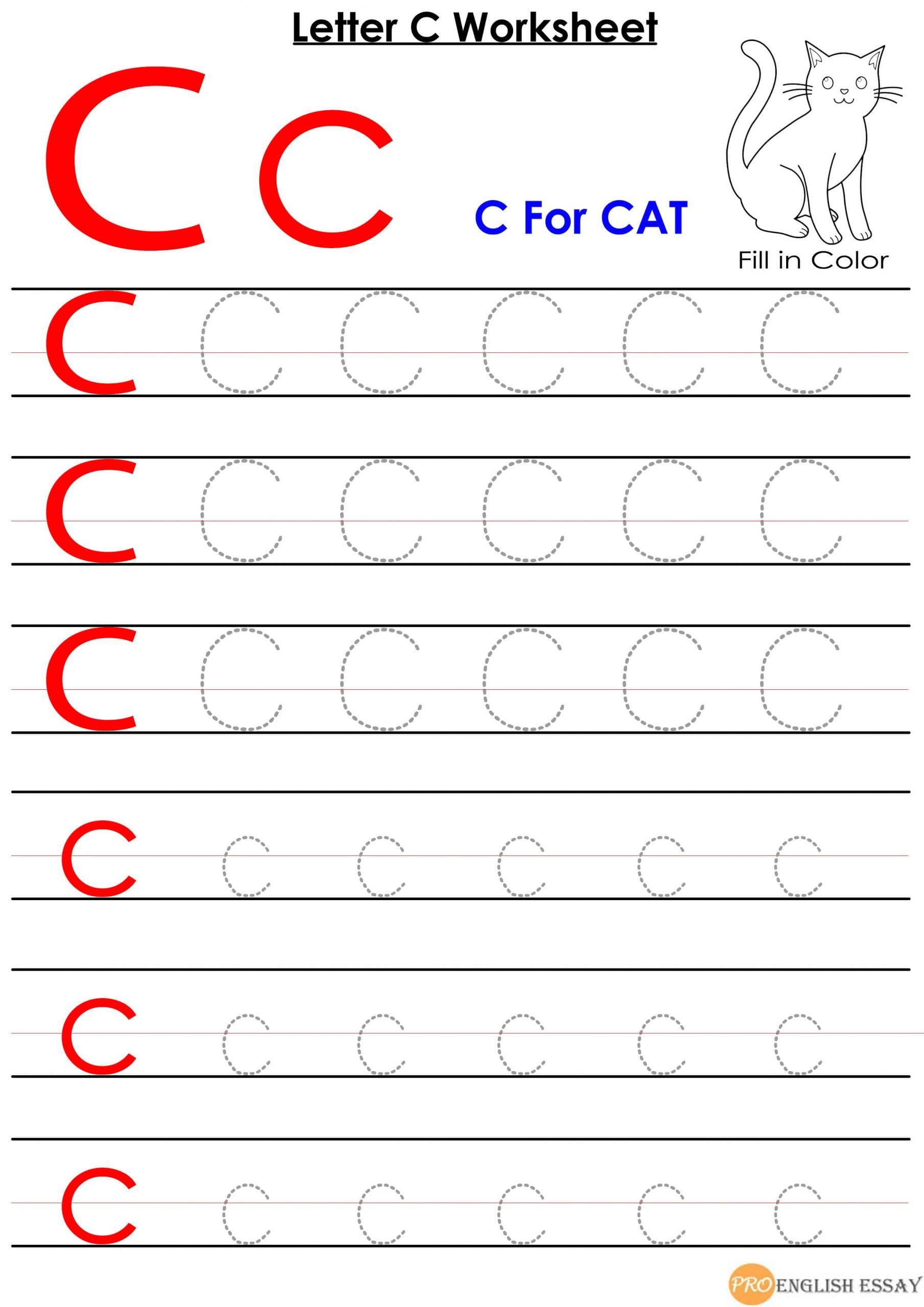 Printable Letter C Worksheet